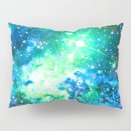 Fox Fur Nebula BRIGHT : Green Blue Purple Galaxy Pillow Sham