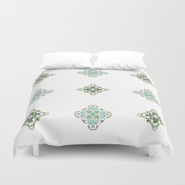 Turquoise With A Tough Of Gold Pattern Duvet Cover