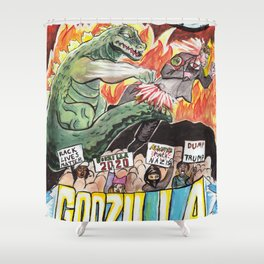 Godzilla vs The Nazis Shower Curtain