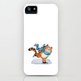 Spotted Ginger Cat with Scarf Ice Skating on Pond iPhone Case