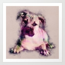American Staffordshire Terrier - Amstaff Puppy Art Print