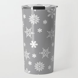 Snow Flurries-Light Gray Travel Mug