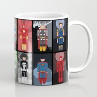 superheroes Mugs featuring 15 Superheroes by CoolBreezDesigns