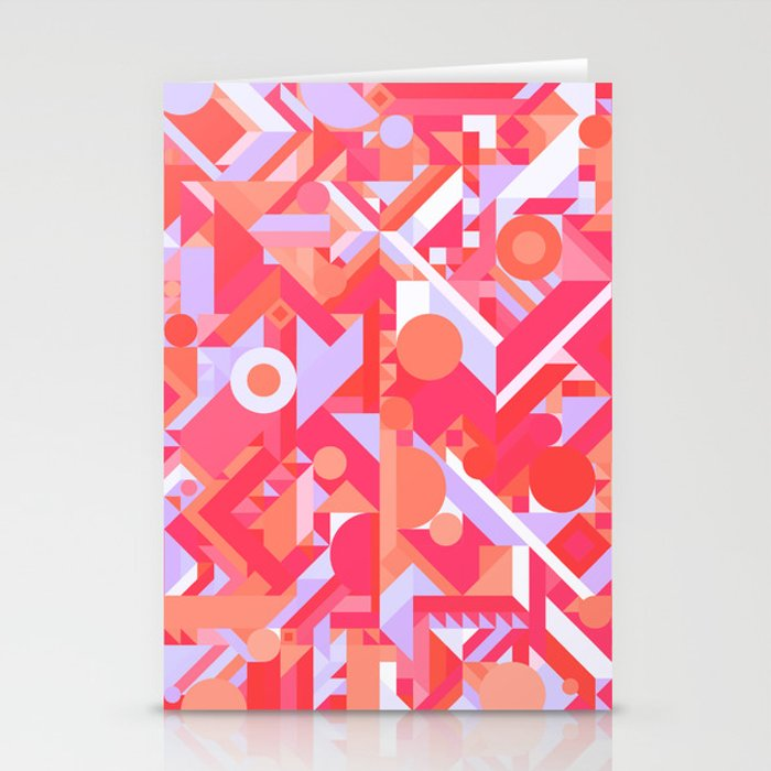 Geometry Shapes Pattern Print Warm Red Lavender Color Scheme Stationery Cards