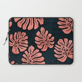 leaves pattern peach colored on dark blue petrol Laptop Sleeve