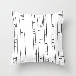 Minimal birches Throw Pillow