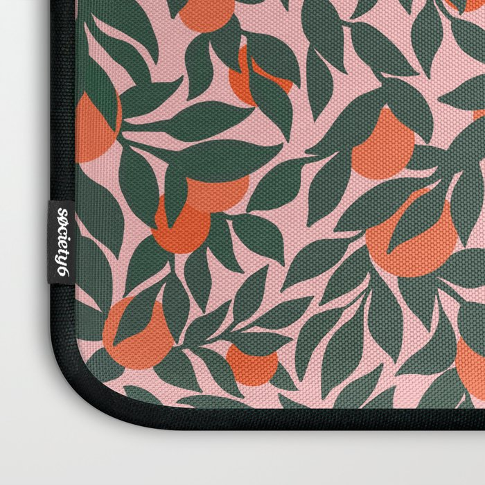 Oranges and Leaves Pattern - Pink Laptop Sleeve