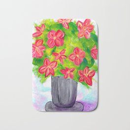 Pewter Vase with Orange Flowers Bath Mat