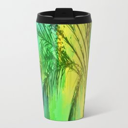 isolate palm tree with painting abstract background in green yellow Travel Mug