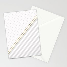 Geometric pale gray white gold foil polka dots Stationery Cards
