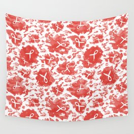 Red Watercolor Ink Splashes Cause Ribbons Wall Tapestry
