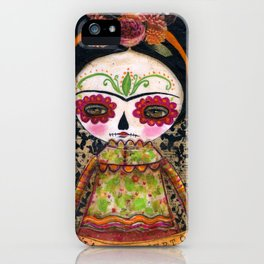 Frida The Catrina - Dia De Los Muertos Painted Skull Mixed Media Art iPhone Case