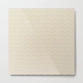 Gold and White Christmas Chevron Stripes Metal Print