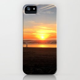 WALKING ON THE BEACH AT SUNSET iPhone Case