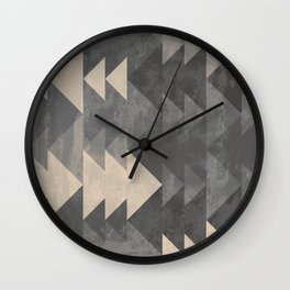 Geometric triangles abstract pattern - Gray tones & Beige Wall Clock