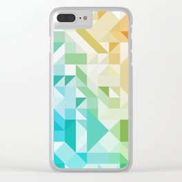 Colorful Geometric Pattern Saturated Rainbow Pattern Design (Red Pink Orange Yellow Green Blue) Clear iPhone Case