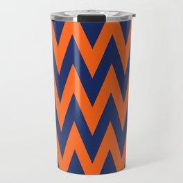 Team Spirit Chevron Blue and Orange Travel Mug