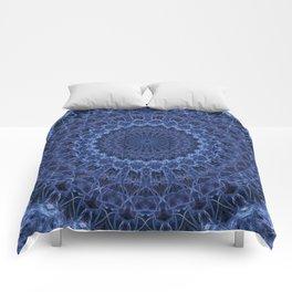 Dark and light blue tones mandala Comforters
