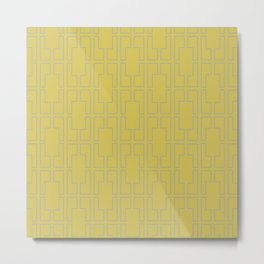 Simply Mid-Century Retro Gray on Mod Yellow Metal Print