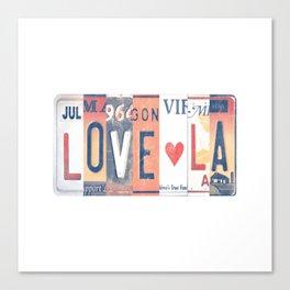 LOVE LA License Plate Art Canvas Print