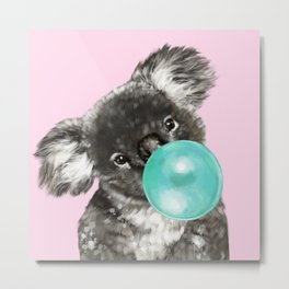 Playful Koala Bear with Bubble Gum in Pink Metal Print