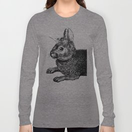 The Rabbit and Roses | Vintage Rabbit with Flower Crown | Rabbit Portrait | Bunny | Black and White Long Sleeve T-shirt