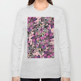 Bright pink teal coral hand painted watercolor floral Long Sleeve T-shirt