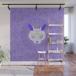 Spiritual cat with three eyes. Wall Mural
