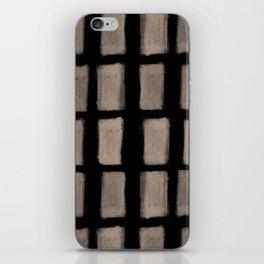 Brush Strokes Vertical Lines Nude on Black iPhone Skin