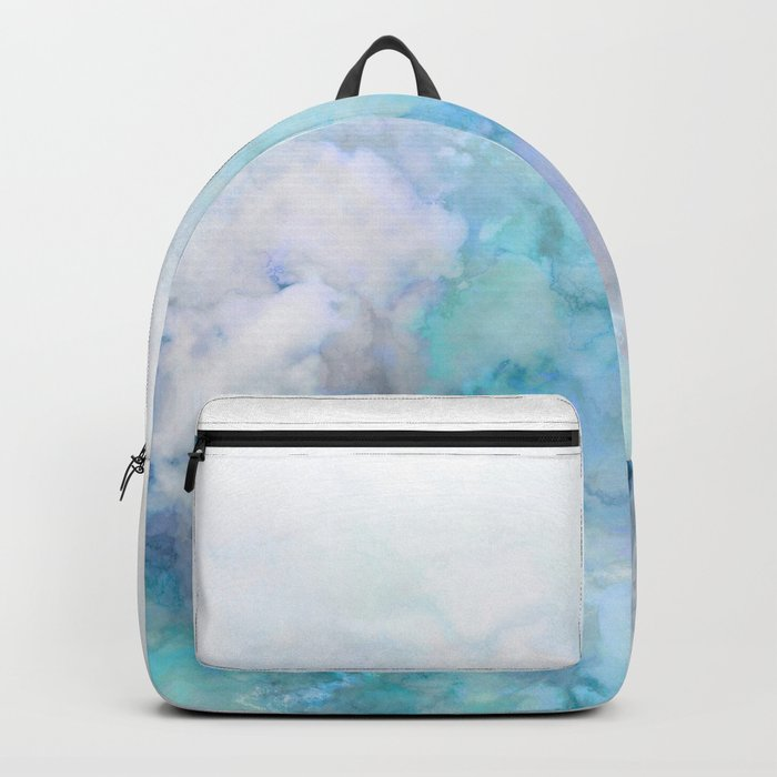 Fresh Blue and Aqua Ombre Frozen Marble Backpack