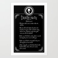 death note Art Prints featuring Death Note Rules by sgrunfo