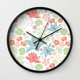 Teal blue and orange Japanese pond florals Wall Clock