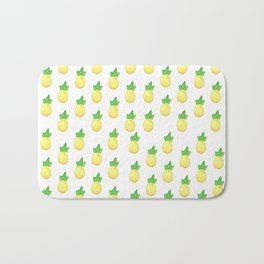 Tropical watercolor green yellow hand painted pineapple Bath Mat