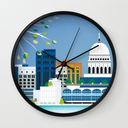 Madison, Wisconsin - Skyline Illustration by Loose Petals Wall Clock