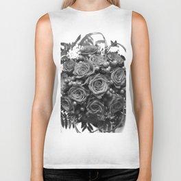 Roses (black and white) Biker Tank