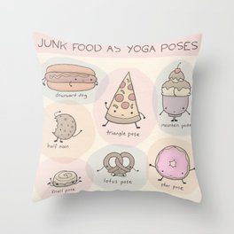 Junk Food as Yoga Poses Throw Pillow