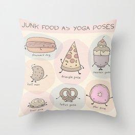 Junk Food as Yoga Poses Throw Pillow