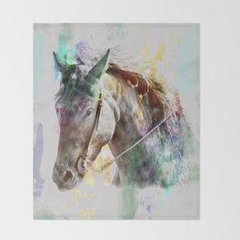 Watercolor Horse Portrait Throw Blanket