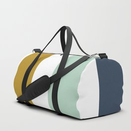 4 Stripe Minimalist Color Block Pattern in Blue, Golden Mustard and Aqua Mint on White Duffle Bag