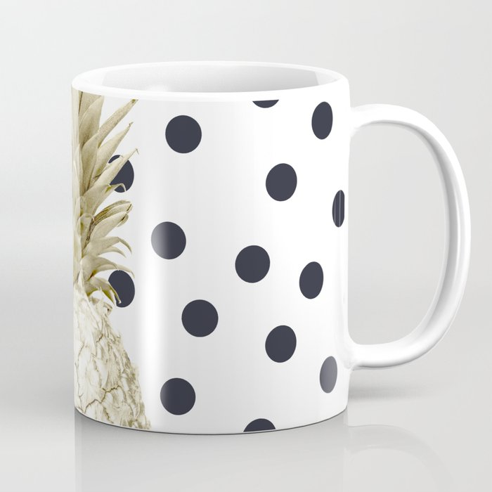 Gold Pinele On Black And White Polka Dots Coffee Mug