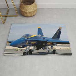 Navy's Spectacular Blue Angels' Airplane At Rest on Tarmac Rug