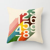 numbers Throw Pillows featuring Retro Numbers by Picomodi