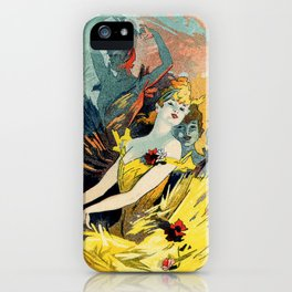 vintage French art nouveau ballet vertical banner iPhone Case