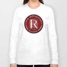 Joshua 24:15 - (Silver on Red) Monogram R Long Sleeve T-shirt