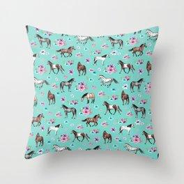 Hand drawn horses, Flower horses, Floral Pattern, Aqua Blue Throw Pillow