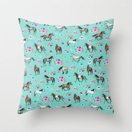 Hand drawn horses, Flower horses, Floral Pattern, Aqua Blue Throw Pillow
