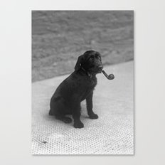 Pipe puffing dog. Canvas Print