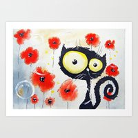 poppies Art Prints featuring Poppies  by Katja Main