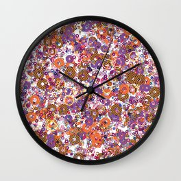 Abstract Shapes Colorful Art Retro Pattern Wall Clock