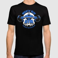 Mighty Blue Gym MEDIUM Black Mens Fitted Tee